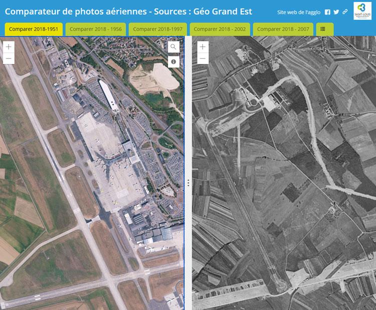 Comparateur de vues aériennes via le Portail Open Data de Saint-Louis Agglomération