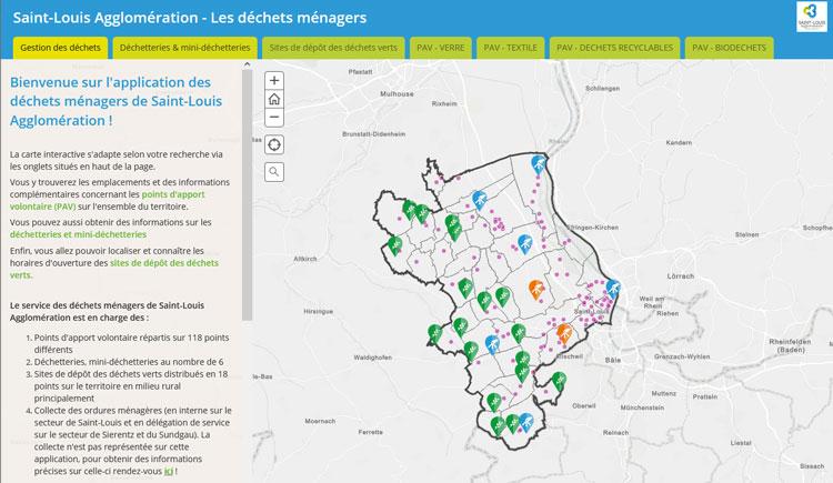 Carte interactive application déchets ménagers sur le Portail Open Data de Saint-Louis Agglomération