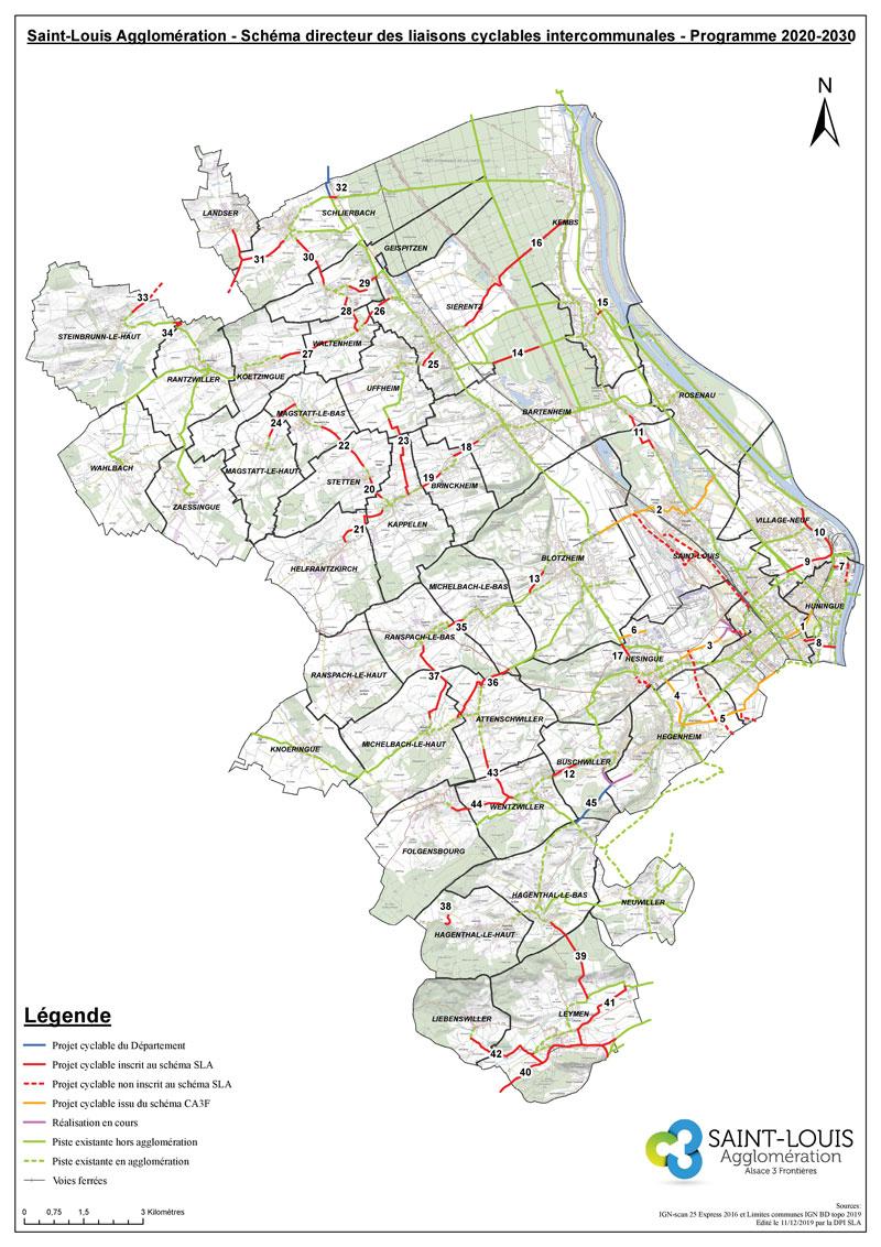 Plan des liaisons cyclables intercommunales existantes et à venir sur la période 2020-2030
