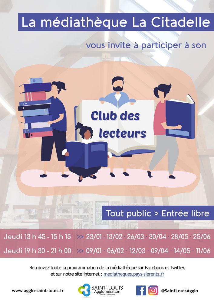 """Club des lecteurs de la médiathèque """"La Citadelle"""" à Sierentz : sessions de janvier à juin 2020"""