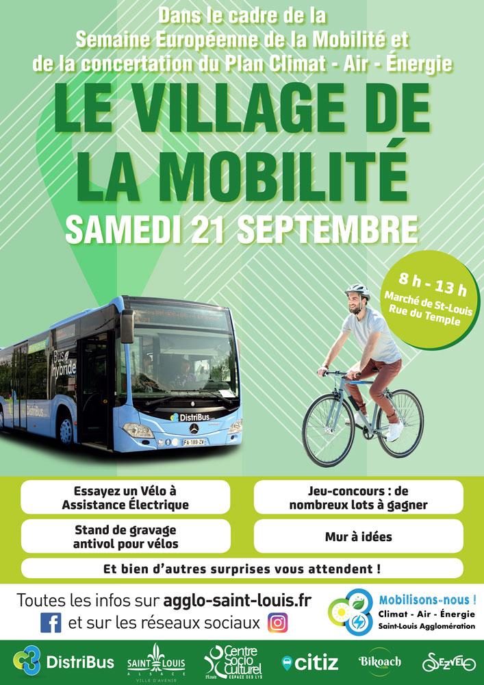 Affiche Village de la mobilite samedi 21 septembre 2019 de 8h à 13h au marché de Saint-Louis