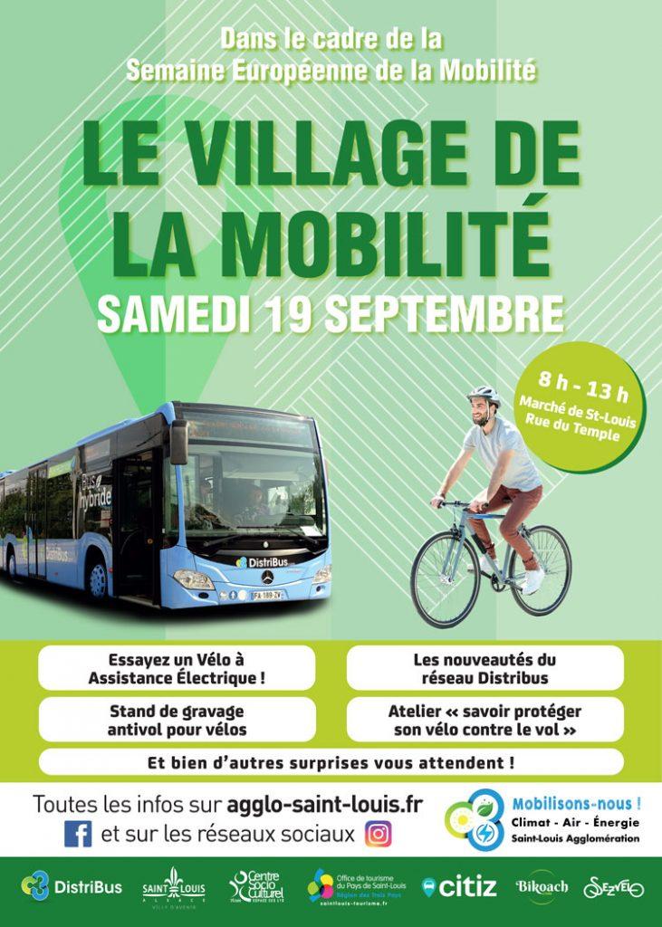 Affiche Village de la mobilité samedi 19 septembre 2020 de 8h à 13h au marché de Saint-Louis