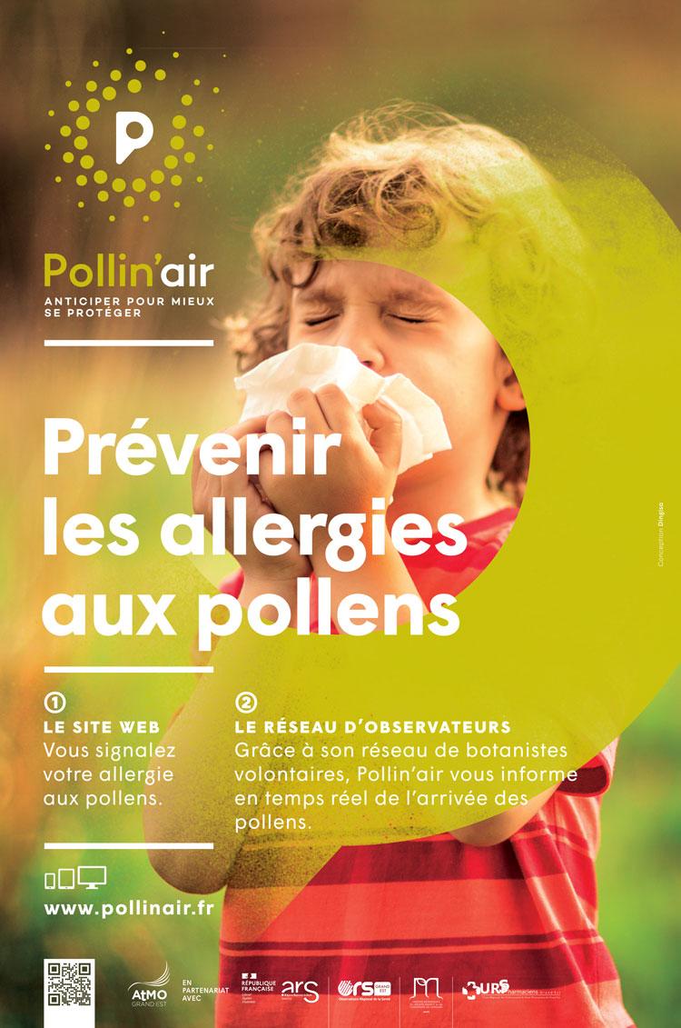 """Affiche Pollin'air """"prévenir les allergies aux pollens"""""""