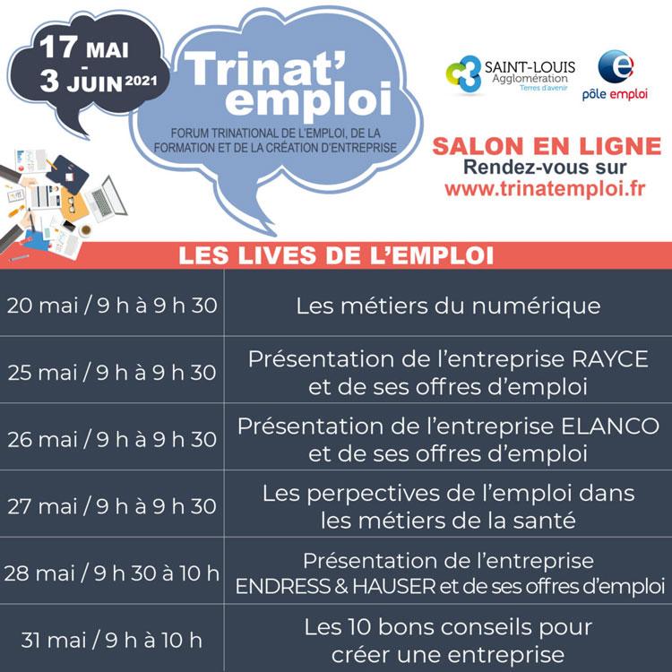 """Planning des """"lives de l'emploi"""" Trinat'emploi 2021"""""""