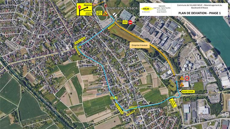 Travaux boulevard d'Alsace à Village-Neuf 2021 : plan de déviation PHASE 1
