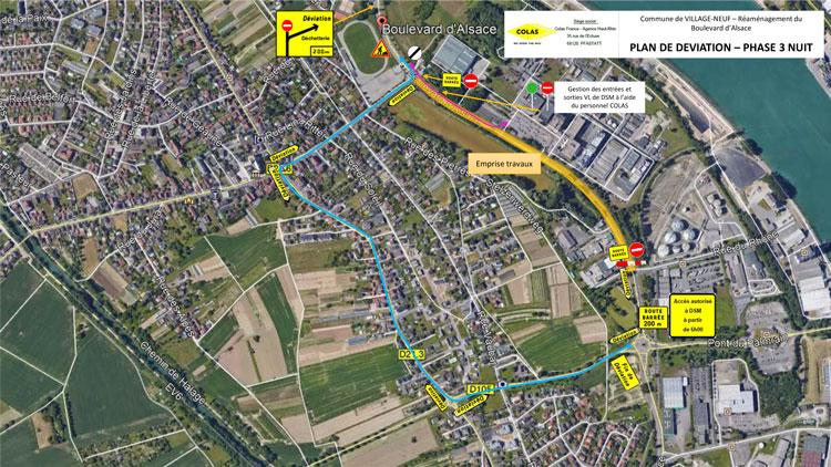 Travaux boulevard d'Alsace à Village-Neuf 2021 : plan de déviation PHASE 3