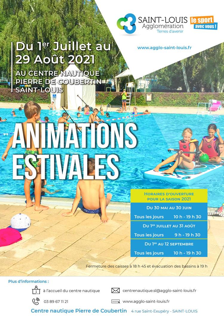 Affiche animations estivales du 1er juillet au 29 août 2021 au Centre nautique Pierre de Coubertin