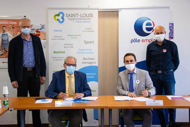 Signature d'une convention de partenariat le 24 juin 2021 entre Saint-Louis Agglomération et Pôle emploi Haut-Rhin