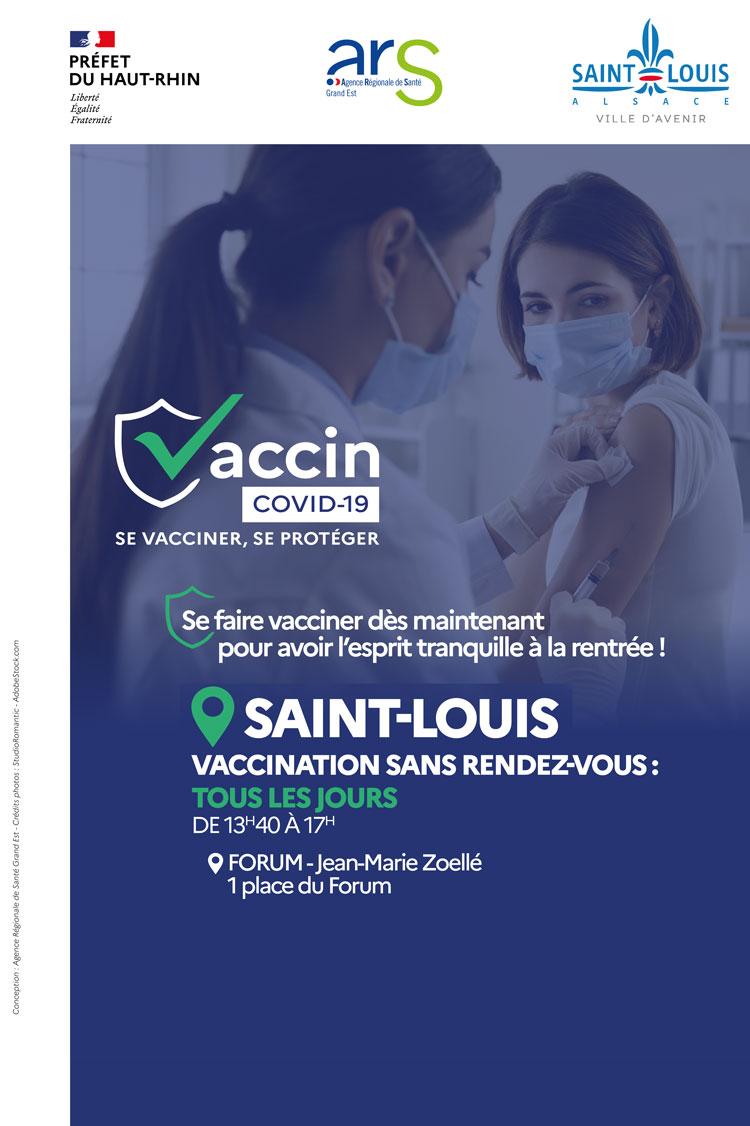 Vaccination possible sans rendez-vous les après-midi du lundi au vendredi au centre de vaccination de Saint-Louis