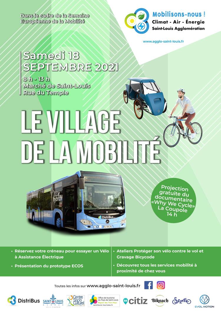 Affiche Village de la mobilité : samedi 18 septembre 2021 de 8h à 13h au marché de Saint-Louis